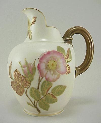 386: Old Royal Worcester Hand Painted Floral Pitcher