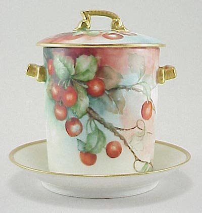 387: T&V Limoges France Porcelain Cheeries Milk Holder