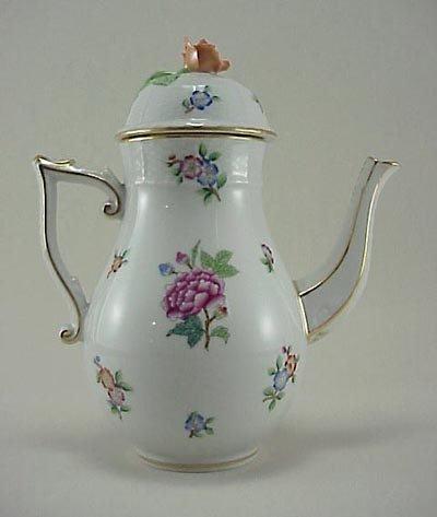 389: Herend Rose MultiColor Floral Porcelain Coffee Pot
