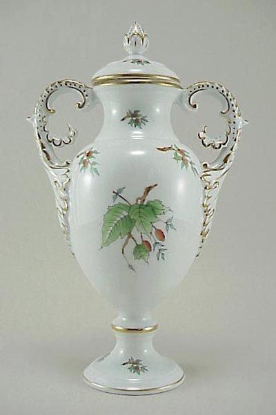 "390: Herend Hand Painted Porcelain 2- Handled 10"" Vase"