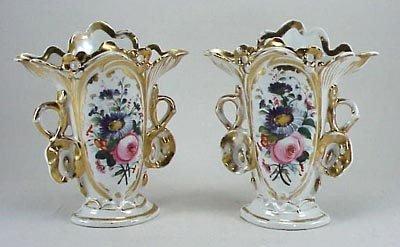 391: Pair of 19th C . Old Paris Fan Vases Signed