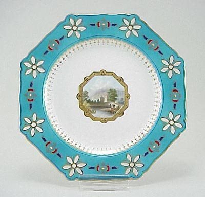 393: Minton 19th C. Hand Painted Scenic Landscape Plate