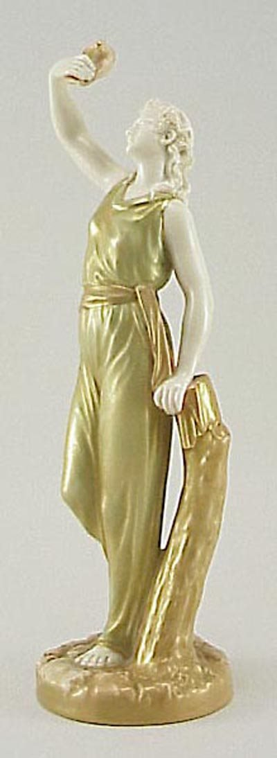 395: Royal Worcester Porcelain Antique Lady Figurine