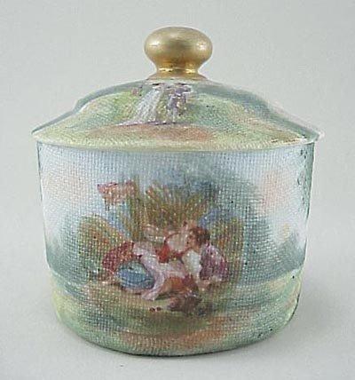 396: Royal Bayreuth Type Tapestry Covered Dresser Jar