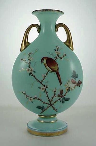518: Fine English 19thC. Opaline Enamel Glass Bird Vase