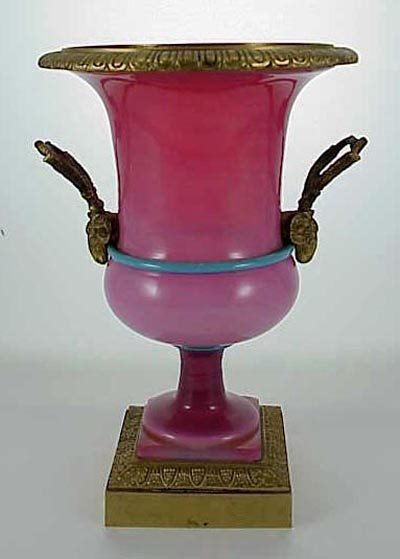 543: French 19C. Ormolu Mounted Pink Opaline Glass Urn