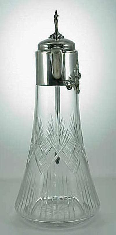 """549: Art Nouveau 12"""" Cut Glass & Silver Wine Decanter - 3"""