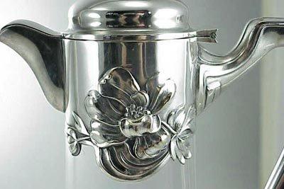 """549: Art Nouveau 12"""" Cut Glass & Silver Wine Decanter - 4"""