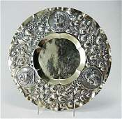719: Augsburg 19C Figural Coin Silver Repousse Tray