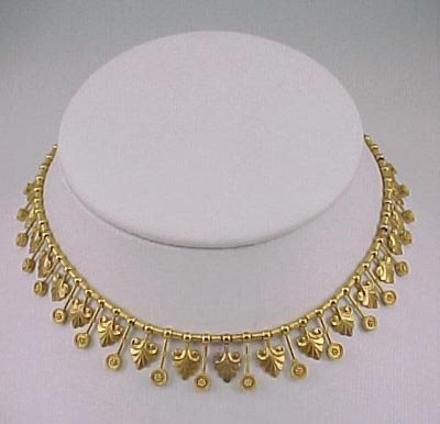 803: Fine Victorian 1870s Etruscan 18K Gold Necklace