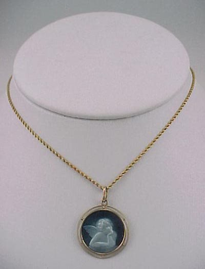 804: Guilloche Enamel 18K Gold Cherub 1910 Necklace