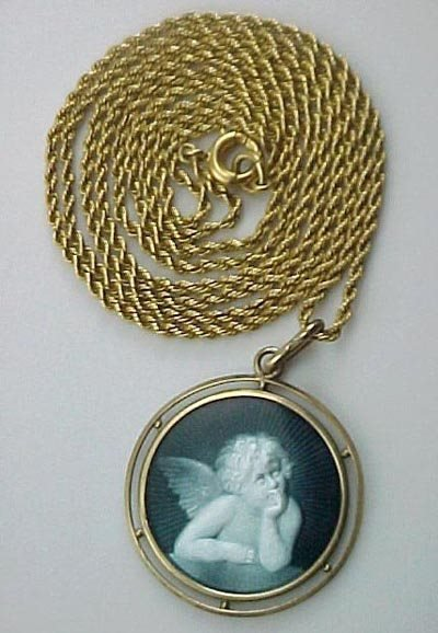 804: Guilloche Enamel 18K Gold Cherub 1910 Necklace - 2