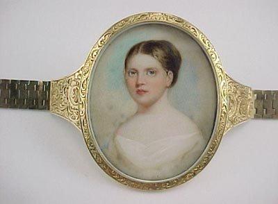 807: Empire 14K Gold Miniature Ivory Portrait Bracelet