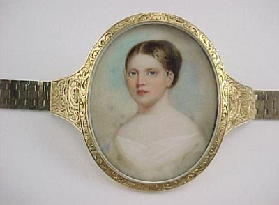 807: Empire 14K Gold Miniature Ivory Portrait Bracelet
