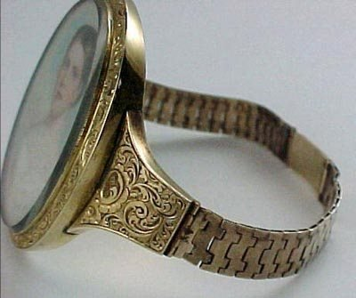 807: Empire 14K Gold Miniature Ivory Portrait Bracelet - 5
