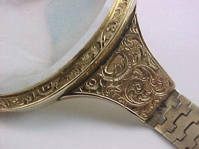 807: Empire 14K Gold Miniature Ivory Portrait Bracelet - 6