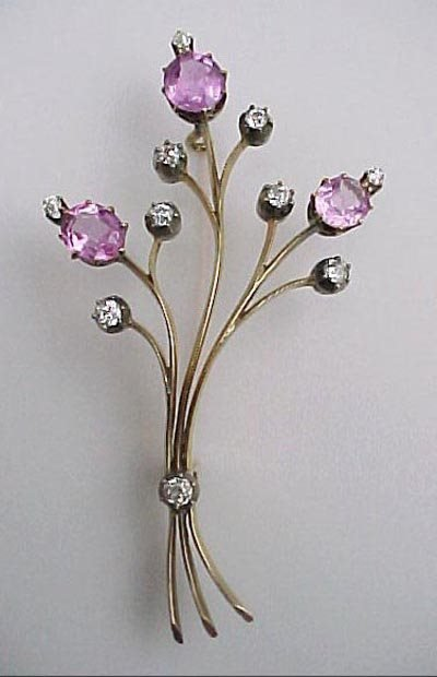 811: Edwardian 1910 Diamond 14K Gold Flower Brooch