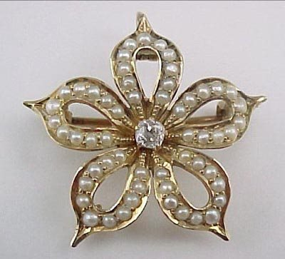 813: Victorian Diamond Flower 14K Gold Pin Pendant