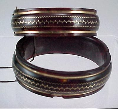 816: Pair Victorian 1860 Gold & Shell Bangle Bracelet s