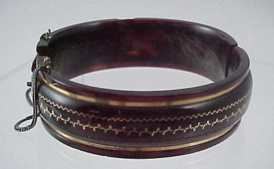 816: Pair Victorian 1860 Gold & Shell Bangle Bracelet s - 2