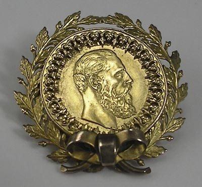 818: German 1888 10 Mark 20K Gold Coin Pin or Brooch