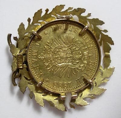 818: German 1888 10 Mark 20K Gold Coin Pin or Brooch - 3