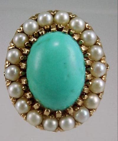 820: Ladies Vintage 14K Cocktail Ring Persian Turquoise