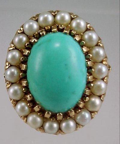 820: Ladies Vintage 14K Cocktail Ring Persian Turquoise