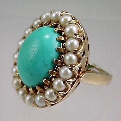 820: Ladies Vintage 14K Cocktail Ring Persian Turquoise - 2