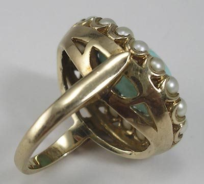 820: Ladies Vintage 14K Cocktail Ring Persian Turquoise - 3