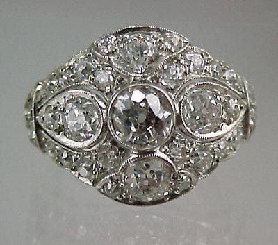 821: Fine Platinum 2+Carat  ArtDeco Ladies Diamond Ring