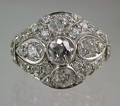 821: Fine Platinum 2+Carat  ArtDeco Ladies Diamond Ring