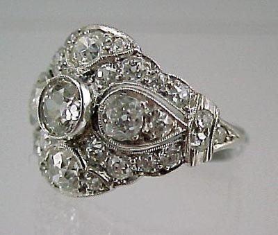 821: Fine Platinum 2+Carat  ArtDeco Ladies Diamond Ring - 2