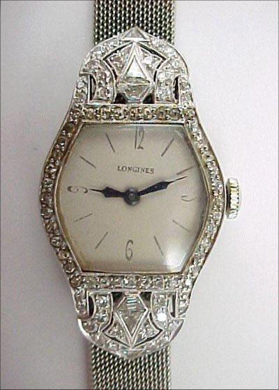 823: Longines Art Deco Platinum Diamond 18K Gold Watch