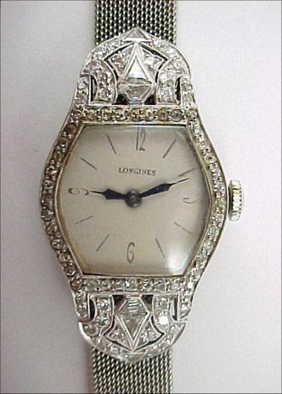 823: Longines Art Deco Platinum Diamond 18K Gold Watch