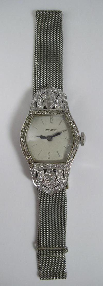 823: Longines Art Deco Platinum Diamond 18K Gold Watch - 2
