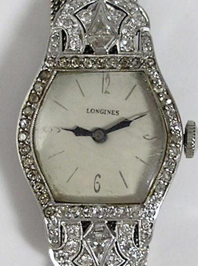 823: Longines Art Deco Platinum Diamond 18K Gold Watch - 3