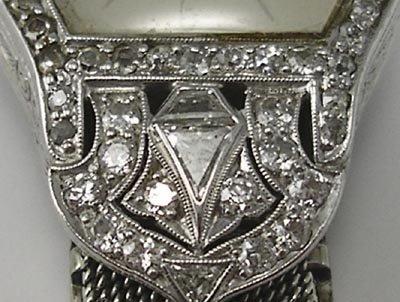 823: Longines Art Deco Platinum Diamond 18K Gold Watch - 4