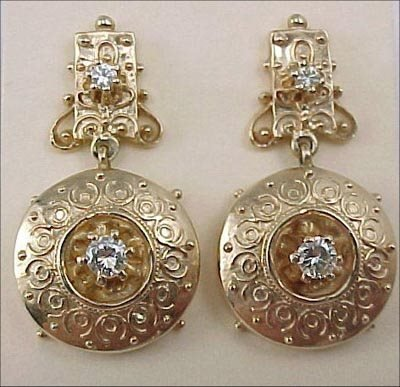 825: Fine Etruscan Revival 14K Gold Diamond Earrings