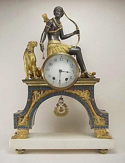 900: French 19C Ormolu Gilt Bronze Figural Clock Diana