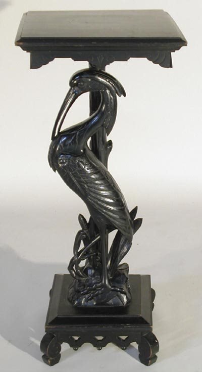 959: Victorian 19thC. Carved Ebonized Egret Pedestal