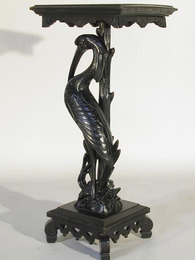 959: Victorian 19thC. Carved Ebonized Egret Pedestal - 2