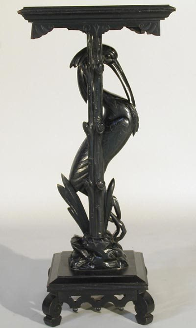 959: Victorian 19thC. Carved Ebonized Egret Pedestal - 3