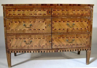 989: Italian 19C Neoclassical Inlaid Cabinet 3 Drawer