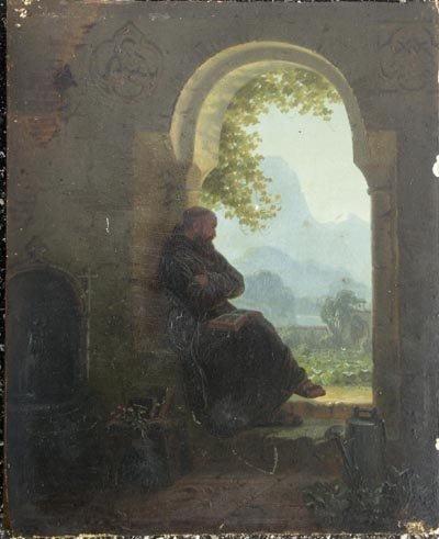 1025: Hans Brunner German Oil Painting, Monk in Garden