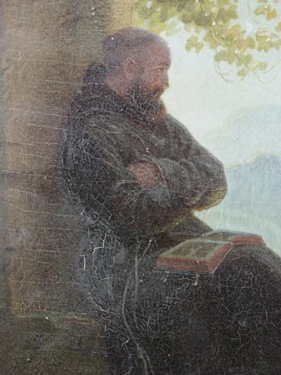 1025: Hans Brunner German Oil Painting, Monk in Garden - 3
