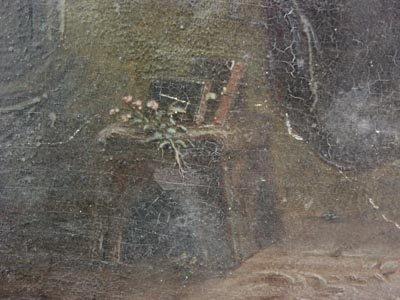 1025: Hans Brunner German Oil Painting, Monk in Garden - 4