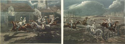 1136: H. Alken British 2 Prints The First Steeple Chase