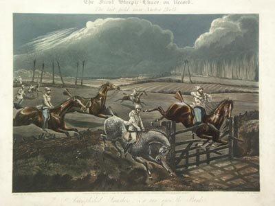 1136: H. Alken British 2 Prints The First Steeple Chase - 3