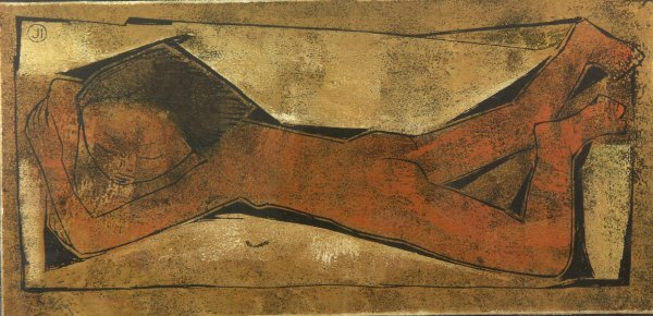 1: signed Angel Botello (1913-1986) NUDE Linoleum Print